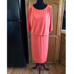 Nina Leonard Orange Slit Sleeve Dress Size 2X
